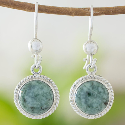 Hand Made Sterling Silver Dangle Jade Earrings 'Mixco Moon'