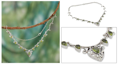 Peridot pendant necklace 'Ivy Elegance'
