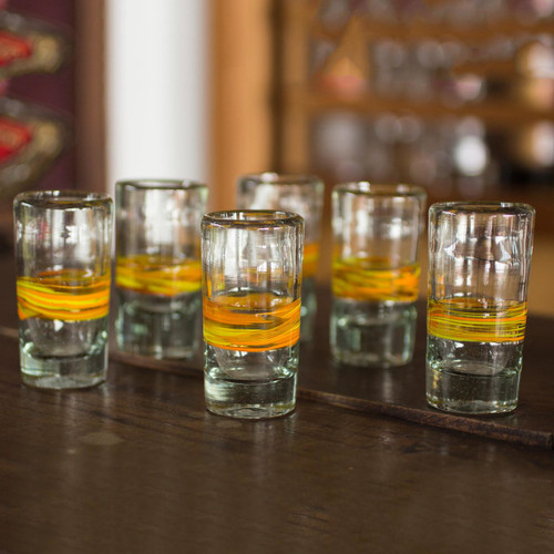 Handblown Glass Striped Tequila Shot Drinkware (Set of 6) 'Ribbon of Sunshine'