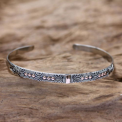 Sterling Silver and 18k Gold Plated Cuff Bracelet 'Golden Suns'