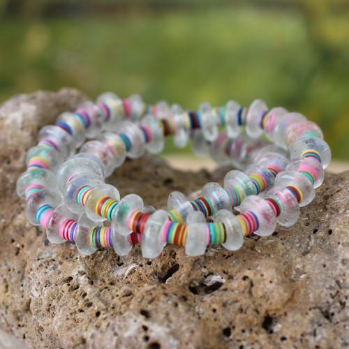 Hand Made Recycled Glass Stretch Bracelets (Pair) 'Odo Akoma'