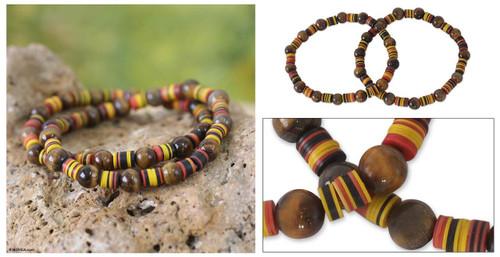 Tiger's Eye Beaded Stretch Bracelets (Pair) 'Akoma Pa'