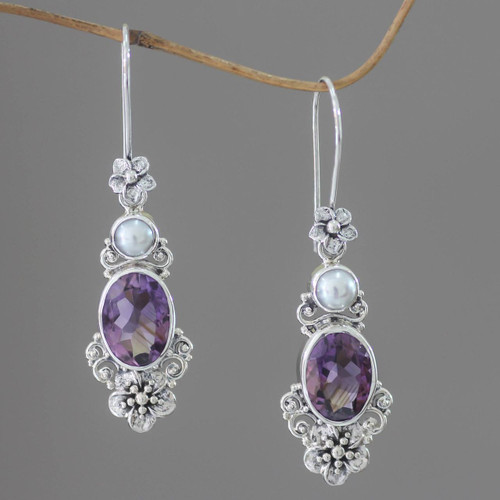 Women's Floral Pearl and Amethyst Silver Earrings 'Queen of Flowers'