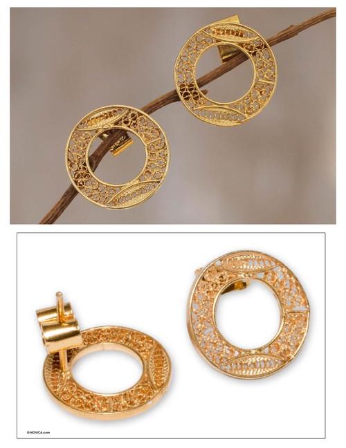 Gold plated filigree earrings 'Solar Auras'
