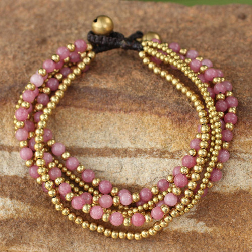 Artisan Crafted Brass and Quartz Bracelet 'Rose Joy'