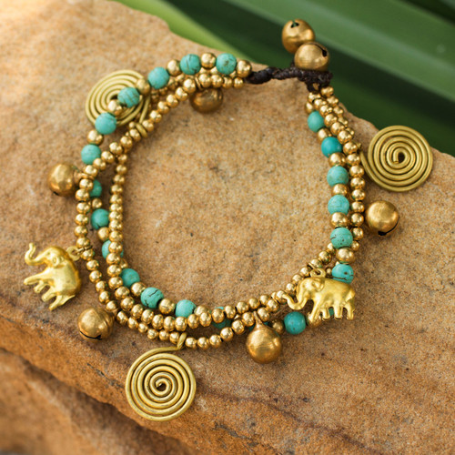 Hand Crafted Brass Charm Bracelet from Thailand 'Blue Siam Elephants'
