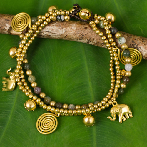 Jasper and Brass Beaded Charm Bracelet 'Colorful Siam Elephants'