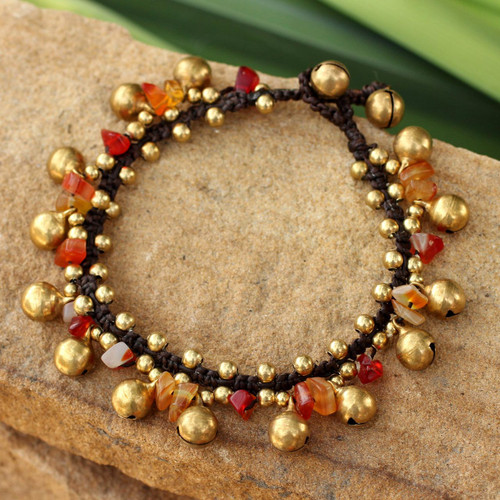Brass Beaded Carnelian Bracelet from Thailand 'Joyous Bells'