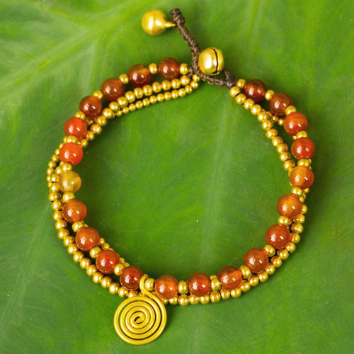 Carnelian Beaded Bracelet from Thailand 'Daydreams'