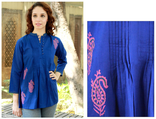 Cotton blouse 'Bengali Blue'