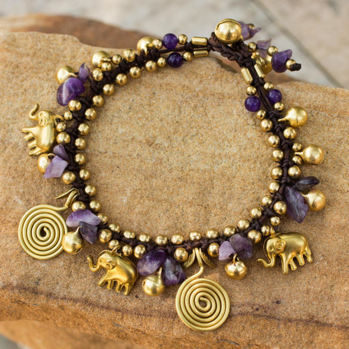 Hand Crafted Brass and Amethyst Elephant Charm Bracelet 'Splendor of Siam'