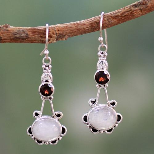 Garnet and Rainbow Moonstone Sterling Silver Earrings 'Fresh Beauty'