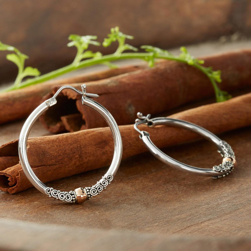 Fair Trade Gold Accented Sterling Silver Hoop Earrings 'Cloud-Kissed Moon'