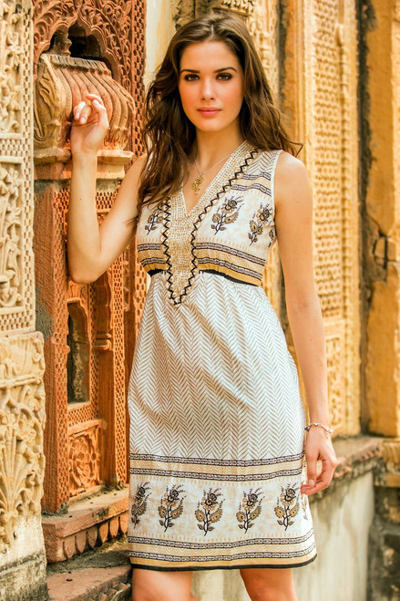 Beaded Cotton Block Print Sleeveless Dress with Sequins 'Golden Magic'