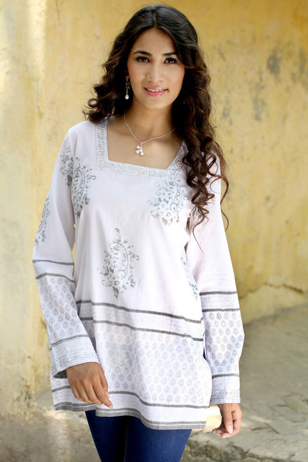 White Cotton Tunic with Silver Block Print and Sequins 'Silver Glam'