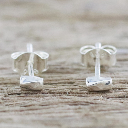 Handcrafted Sterling Silver Stud Earrings from Thailand 'Silver Sparkle'