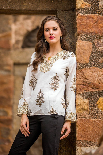 Festive Cotton Block Print Tunic Beadwork Sequins Zari 'Festive Floral Paisley'
