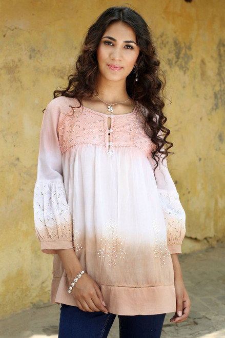 India Beaded Cotton Eyelet Lace Blouse 'Subtle Allure'