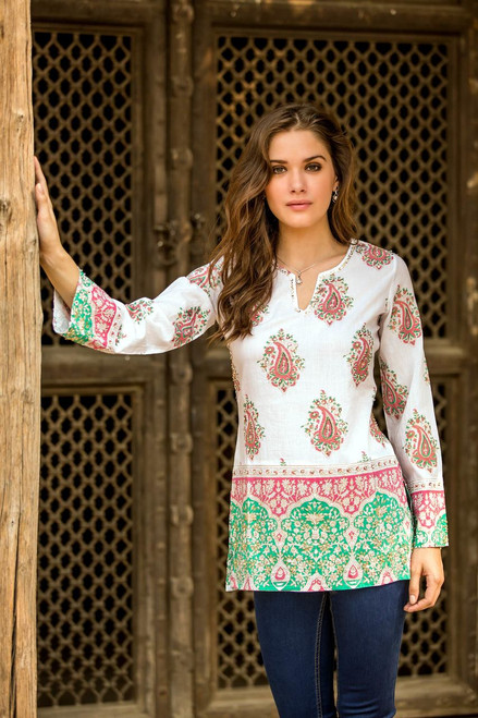 Cotton Block Print Tunic with Beadwork and Sequins 'Beautiful Jaipur'