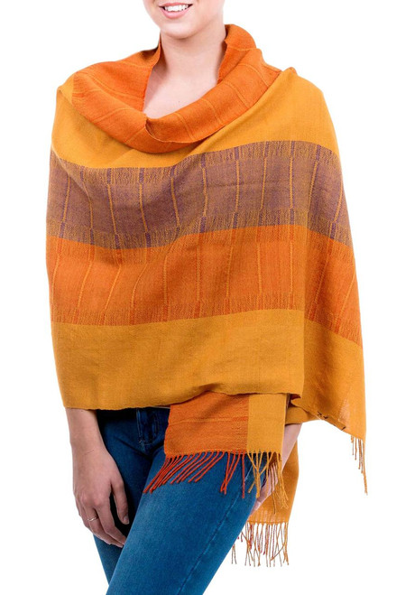 100% alpaca shawl 'Tarma Sunflower'