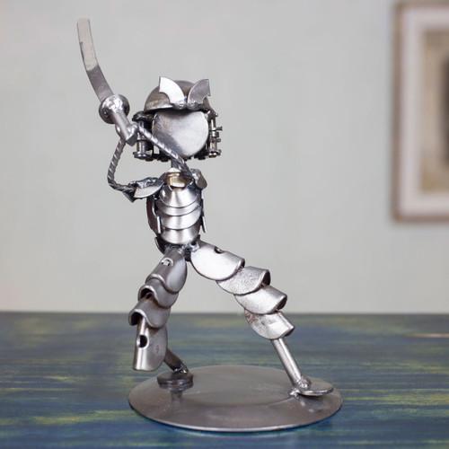 Unique Handcrafted Recycled Metal Warrior Sculpture 'Rustic Samurai II'