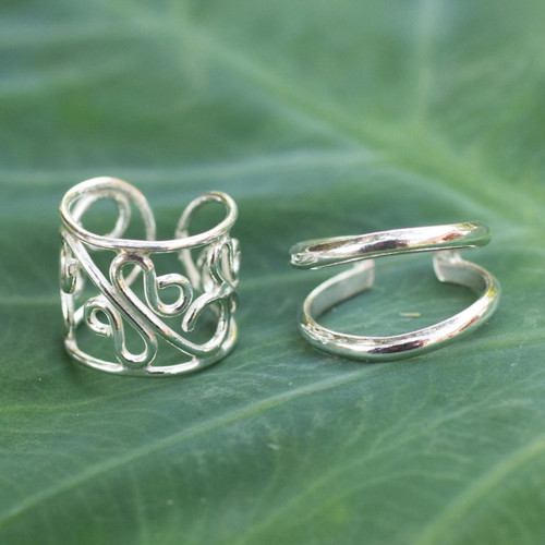 Sterling silver ear cuff earrings (Pair) 'Sleek Filigree'