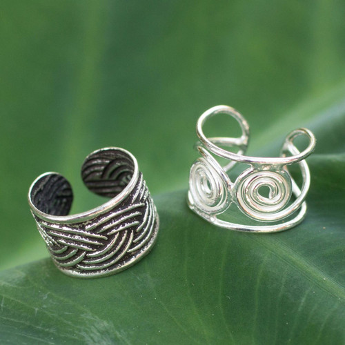 Sterling silver ear cuff earrings (Pair) 'Contrasts'