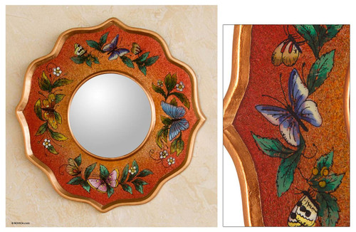 Collectible Reverse Painted Glass Glass Butterfly Mirror 'Carnelian Butterfly Sky'