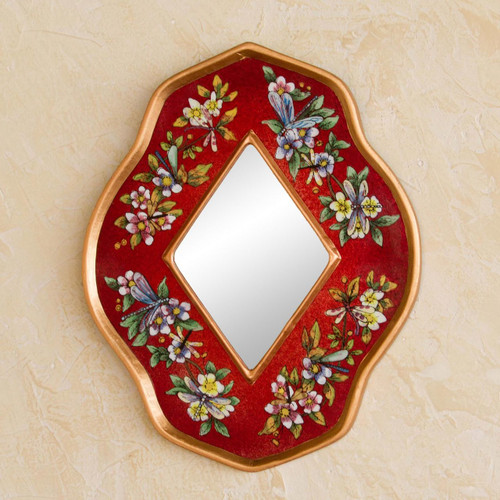 Handcrafted Reverse Painted Glass Mirror 'Red Summer Garden'