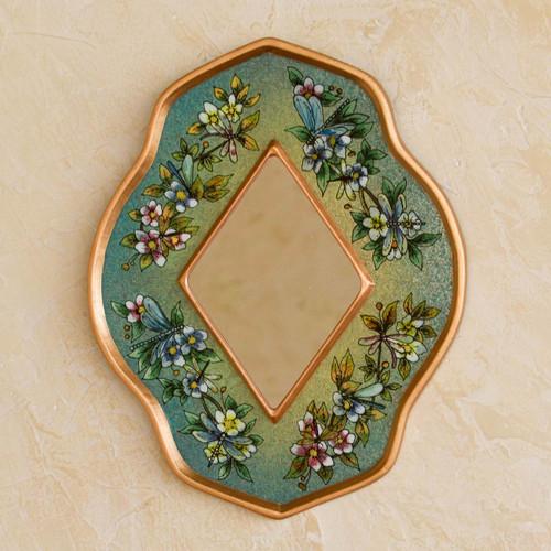Unique Glass Butterfly Mirror 'Green Summer Garden'