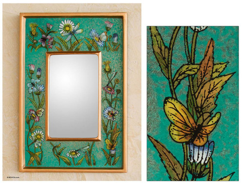 Collectible Glass Vibrant Green Mirror 'Emerald Fields'