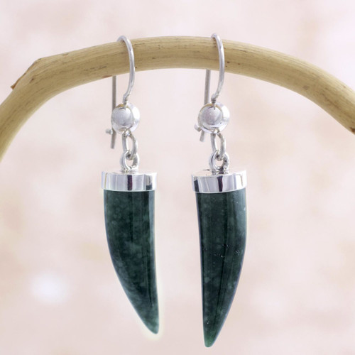 Artisan Crafted Sterling Silver Dark Green Jade Earrings 'Forest Cat'