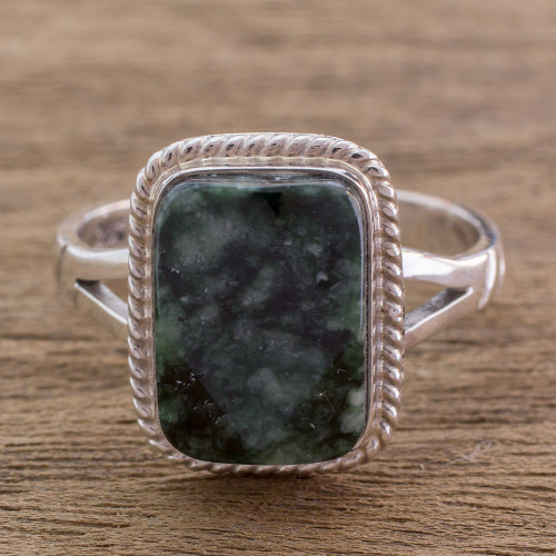 Sterling Silver Cocktail Jade Ring 'Maya Forest Princess'