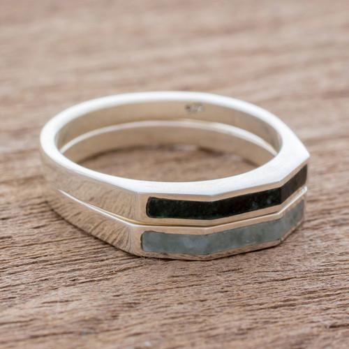 Sterling Silver Stacking Rings Inlaid with Jade (Pair) 'Churumbelas'