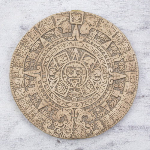 Ceramic plaque 'Natural Aztec Sun Stone'