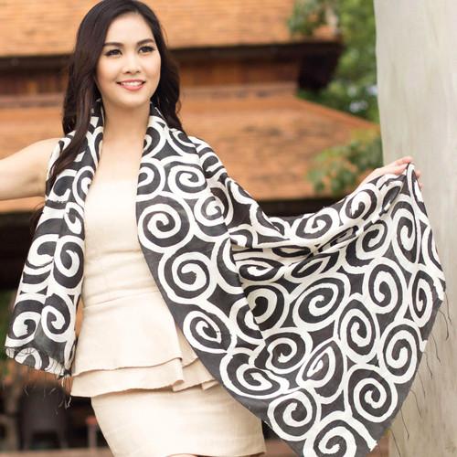 Silk scarf 'Black Thai Maze'