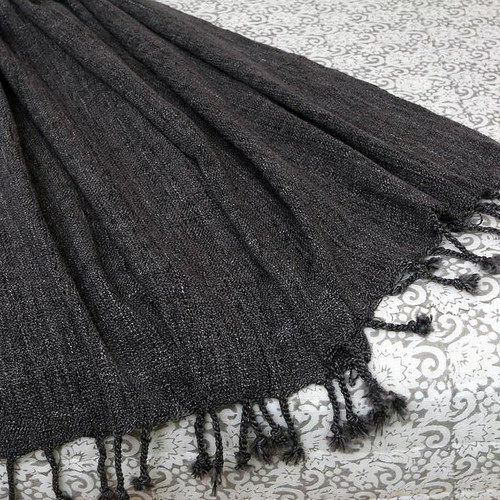 Handmade Solid Throw Blanket 'Grey Dove'