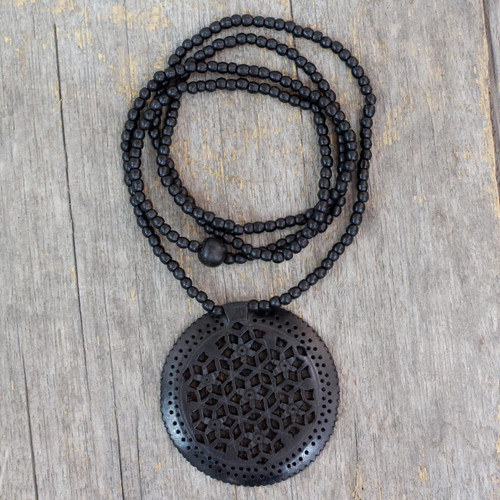 Jali Jewelry Ebony Wood Beaded Necklace 'Mughal Enchantress Medallion'