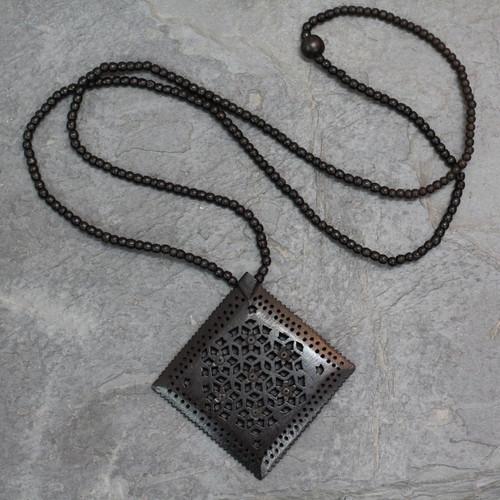 Ebony Wood Necklace Hand Carved Jewelry from India 'Mughal Enchantress Diamond'