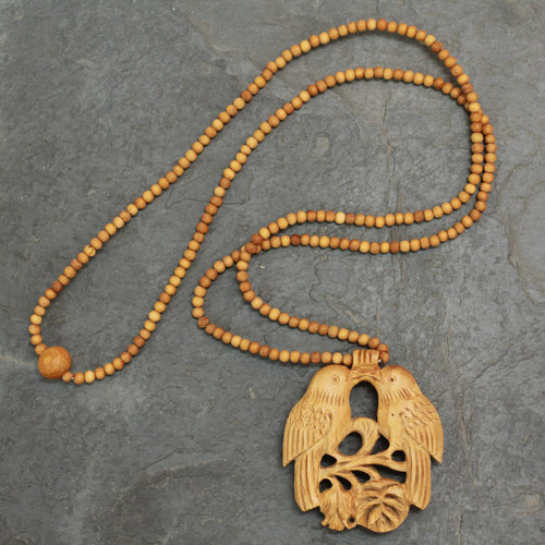 Wood Beaded Bird Necklace from India 'Courtship'