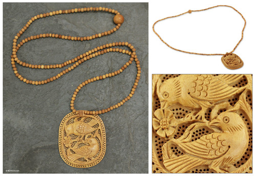 Handcrafted Wood Jali Necklace 'Playful Birds'