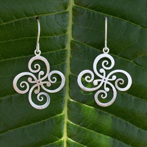 Fair Trade Floral Sterling Silver Dangle Earrings 'Thai Pinwheel'