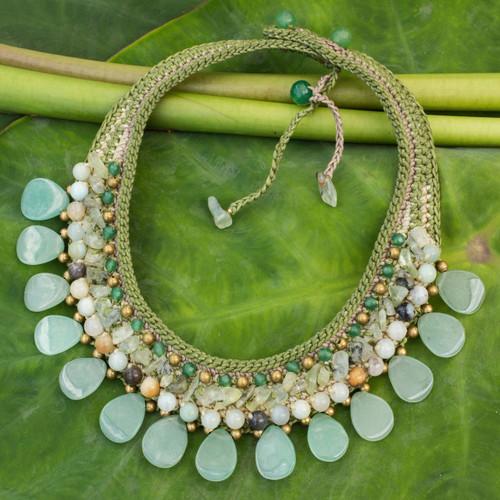 Hill Tribe Quartz and Prehnite Choker Necklace 'Dawn Forest'