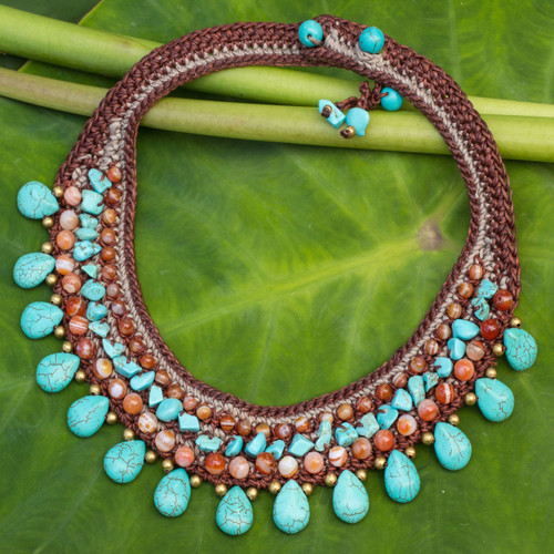 Carnelian Crocheted Choker 'Dawn Seas'