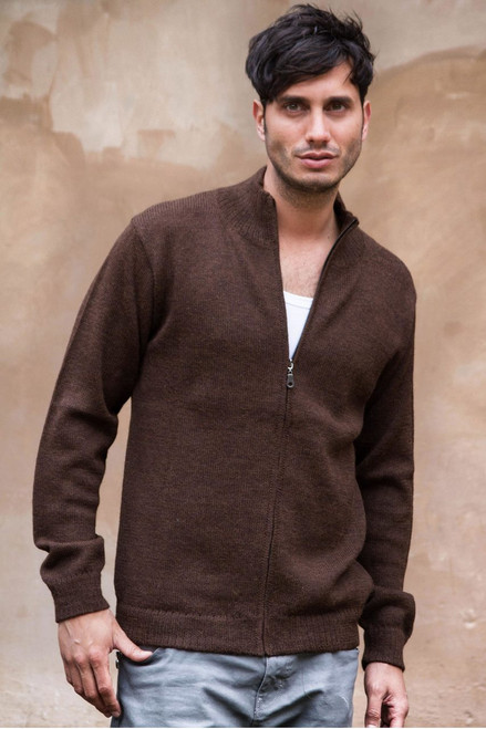 Men's 100% alpaca cardigan 'Modern Brown'