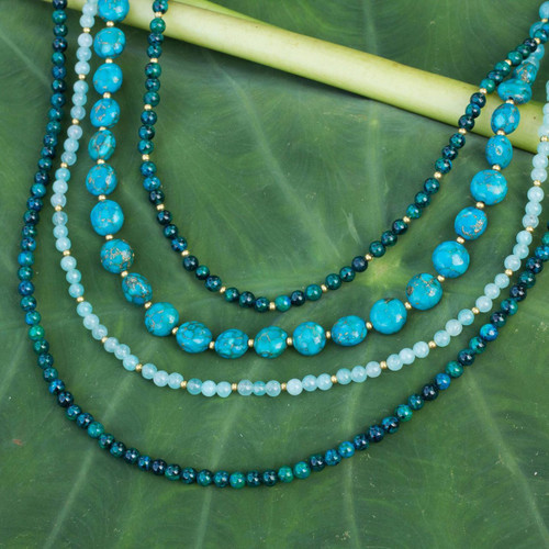 Beaded necklace 'Forest Lagoon'