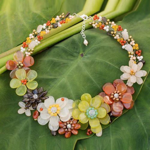 Cultured pearl and carnelian beaded necklace 'Joyous Camellia'