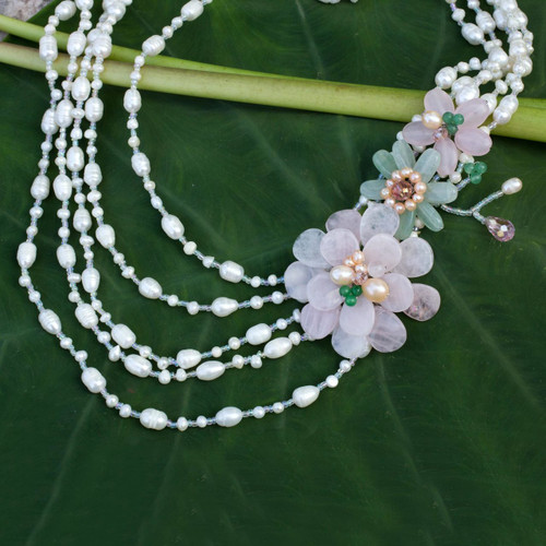 Pearls and Rose Quartz Strand Necklace Floral Jewelry 'Sweet Bouquet'