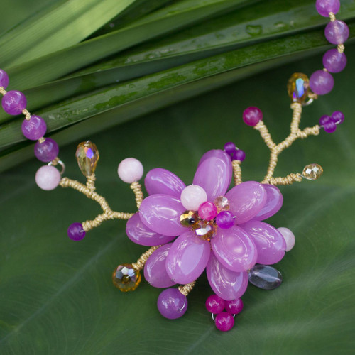 Amethyst beaded flower necklace 'Violet in Bloom'