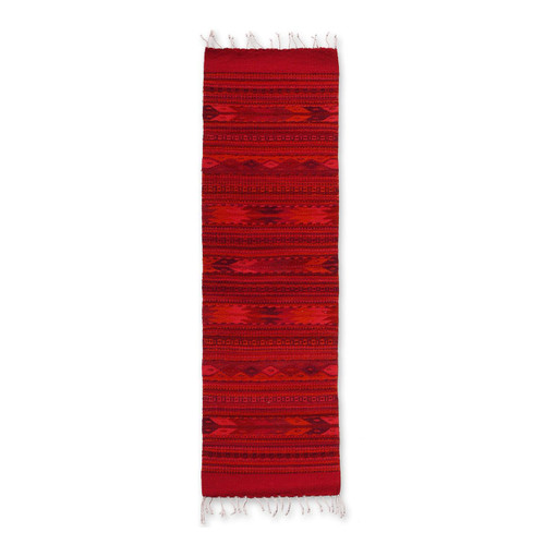Zapotec wool runner 'Zapotec Garnet'